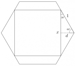 The largest square that can fit in a regular hexagon. Square has side length x. Perpendicular distance from side of square to corner of hexagon is d.