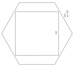 Square of side length 1 inside regular hexagon of side length root(2/3).