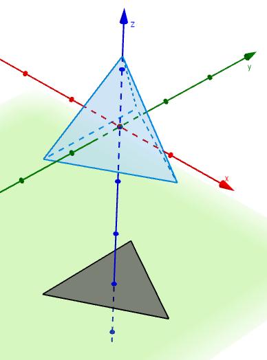 Tetrahedron with trianglar shadow