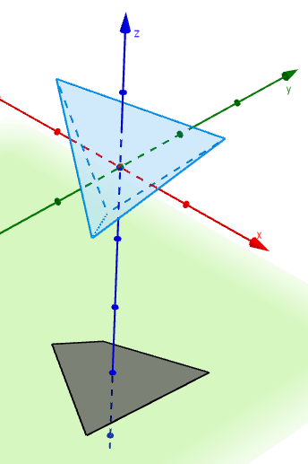Tetrahedron with quadrilateral shadow