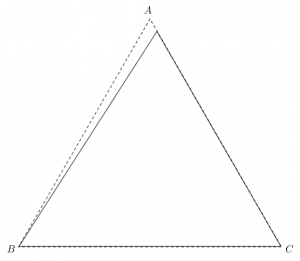Shadow of the rotated tetrahedron inside an equilateral triangle of edge-length 1.