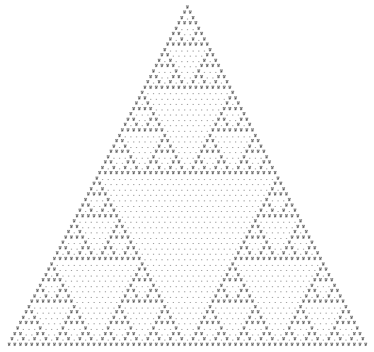 Sierpinski triangle made of full stops and letters w.
