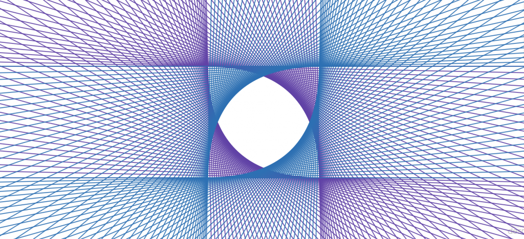 Four parabolic envelopes in the corners of a square, with all the lines continued in both directions, creating overlapping grids.