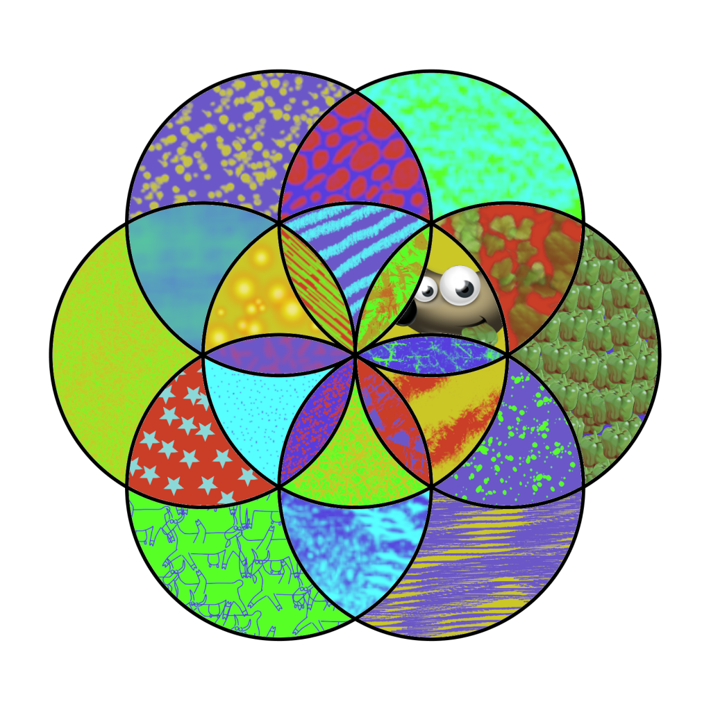 Flower of life made of 7 overlapping circles, each section coloured with a different colour combination/pattern.