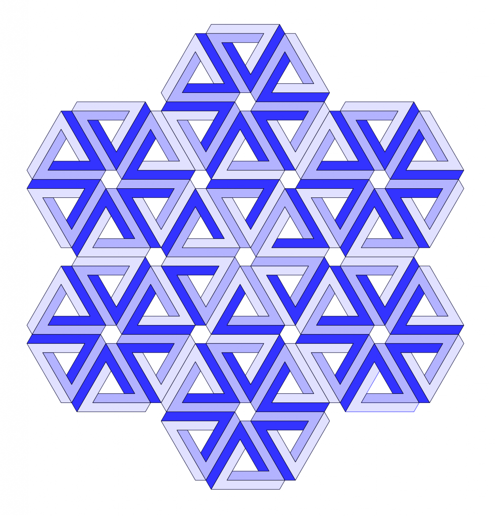 Seven hexagons, each formed of six impossible triangles in shades of blue.