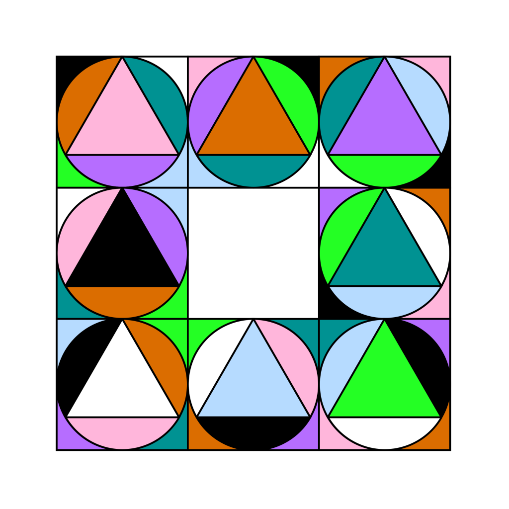 quare split into a 3 by 3 grid. Each of the outer squares contains a circle, which contains an equilateral triangle. Each section of each square is a different colour and the colours cycle around the sections in the same order, going clockwise. For example, the white section in a particular square is always black in the next square.
