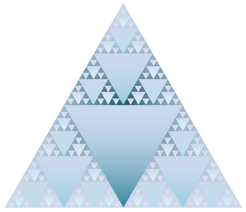 Sierpinski triangle in varying shades of blue. Dark in the centre and getting lighter in the corners.