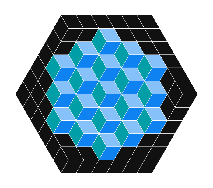 Block structure made of blue, green and black rhombuses forming cubes.