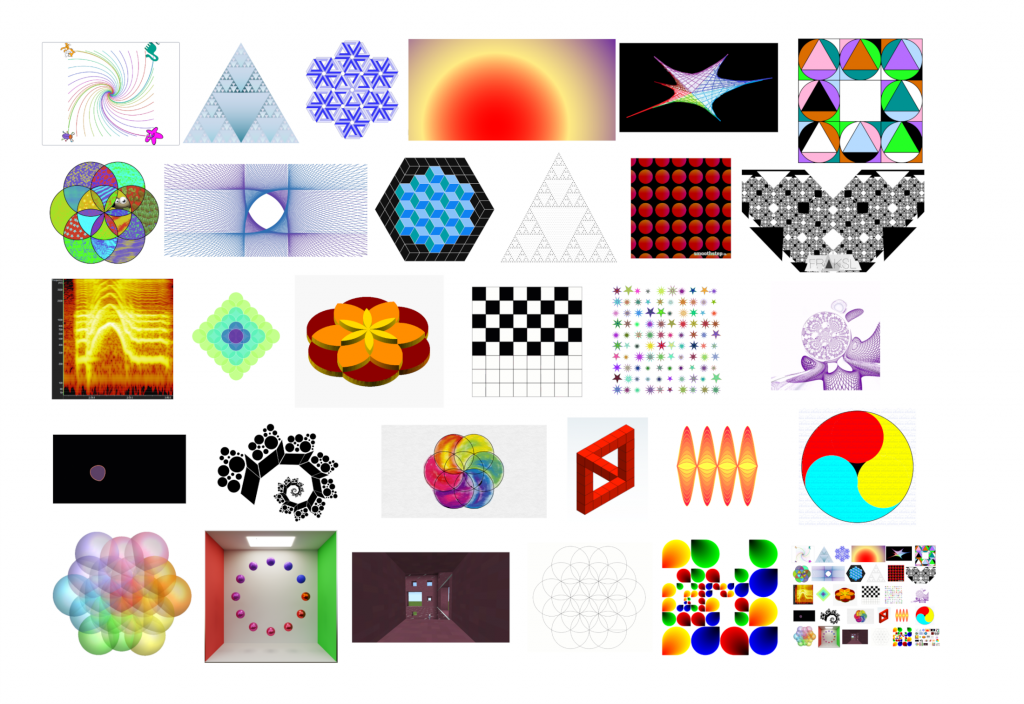 30 Maths Art images. The image for day 30 is a recursive image of all the images.