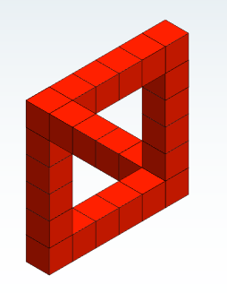 Optical illusion formed by two adjoining triangles made of cubes.
