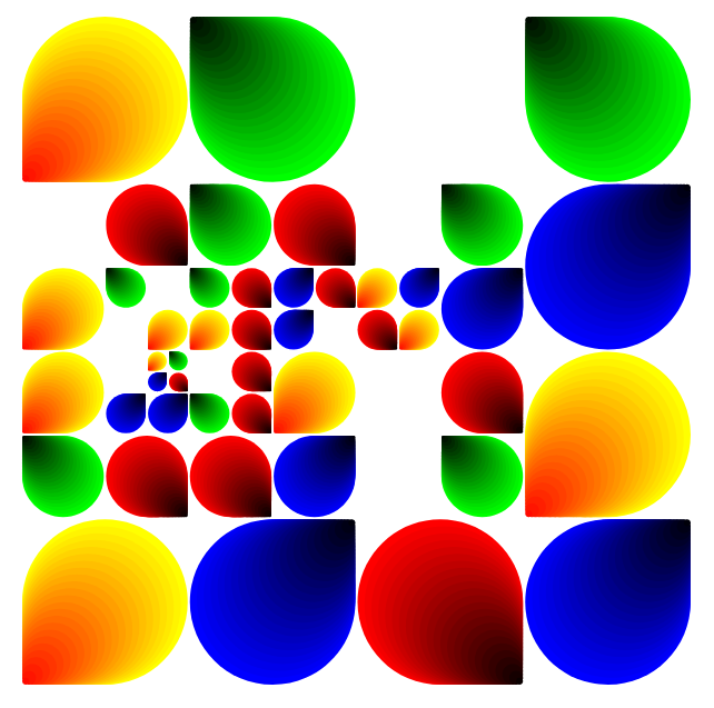 Teardrop shapes in gradients of red, blue, green and yellow, with randomly generated sizes and directions, in an approximate grid.