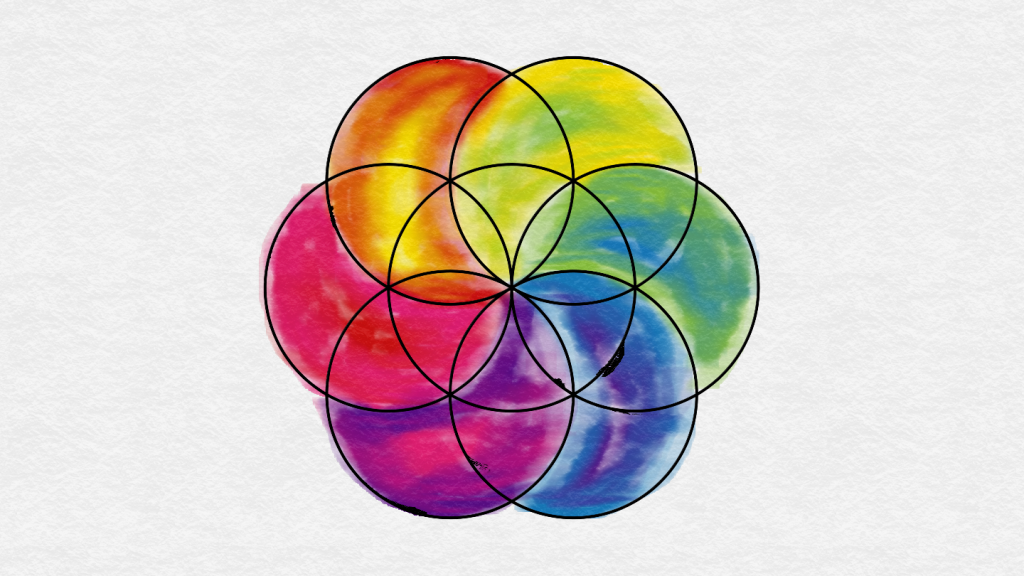 eed of life made of a central circle with 6 overlapping outer circles. Sections coloured and blended roughly, it all looks a bit clumsy. The colouring has gone outside the lines in some places, and the lines have bled into the colour.