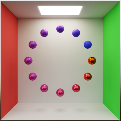 12 spheres in a circle, light coming from top, spheres ranges from very glossy to not at all glossy.